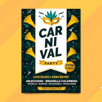 Modelo de cartaz de festa carnaval desenhado à mão