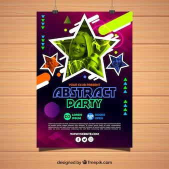 Modelo de cartaz de festa com design abstrato