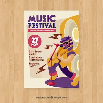 Modelo de cartaz de festa com design plano