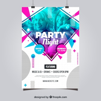 Modelo de cartaz de festa com estilo abstrato