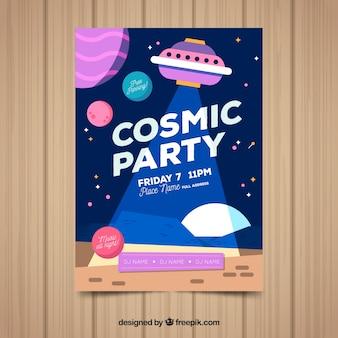 Modelo de cartaz de festa com estilo cósmico
