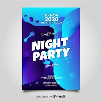 Modelo de cartaz de festa com forma abstrata