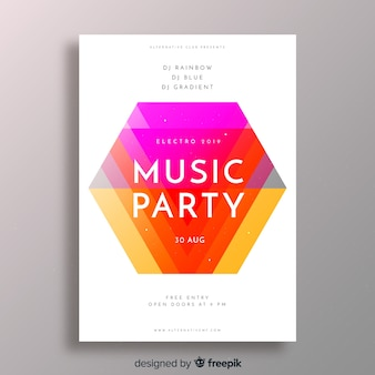 Modelo de cartaz de festa com formas abstratas
