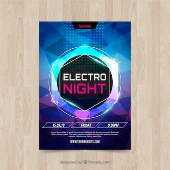 Modelo de cartaz de festa com luzes de néon