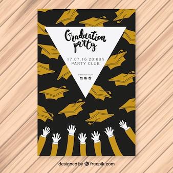 Modelo de cartaz de festa com mãos e bonés de graduação