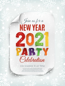 Modelo de cartaz de festa de ano novo 2021 com neve e flocos de neve.