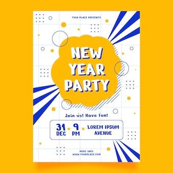 Modelo de cartaz de festa de ano novo 2021 de design plano