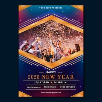 Modelo de cartaz de festa de ano novo com foto