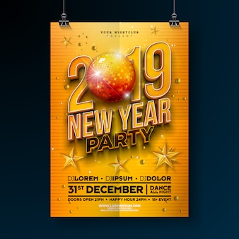 Modelo de cartaz de festa de ano novo com número 3d 2019