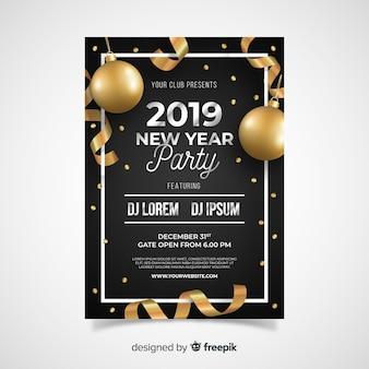 Modelo de cartaz de festa de ano novo de balões de bronze realista