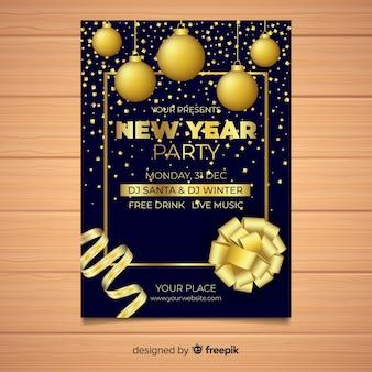 Modelo de cartaz de festa de ano novo de bolas douradas de suspensão