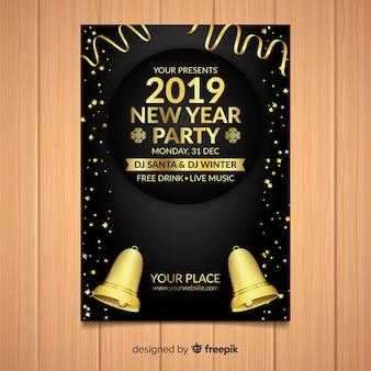 Modelo de cartaz de festa de ano novo de sinos de ouro