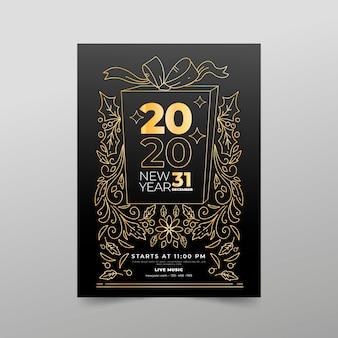 Modelo de cartaz de festa de ano novo no estilo de estrutura de tópicos