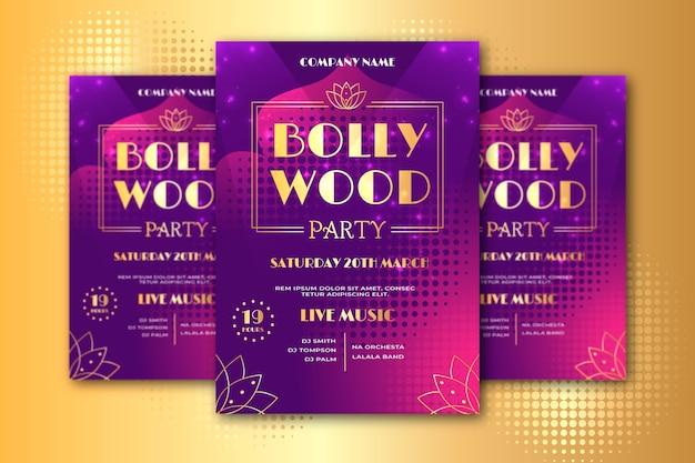 Modelo de cartaz de festa de bollywood com letras douradas