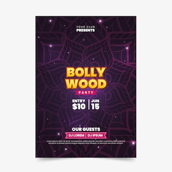 Modelo de cartaz de festa de bollywood com mandala
