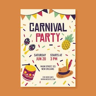 Modelo de cartaz de festa de carnaval desenhada de mão