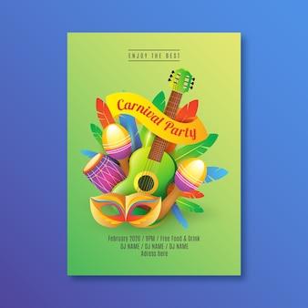 Modelo de cartaz de festa de carnaval realista