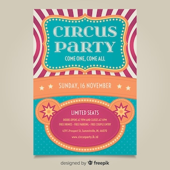 Modelo de cartaz de festa de circo vintage