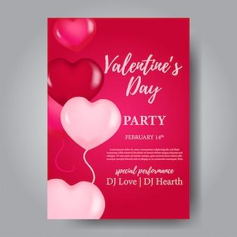Modelo de cartaz de festa de dia dos namorados com balão de lareira
