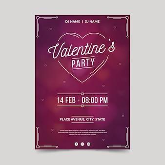 Modelo de cartaz de festa de dia dos namorados em design plano