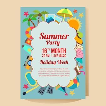 Modelo de cartaz de festa de férias de verão com ilustração em vetor estilo plano praia tema