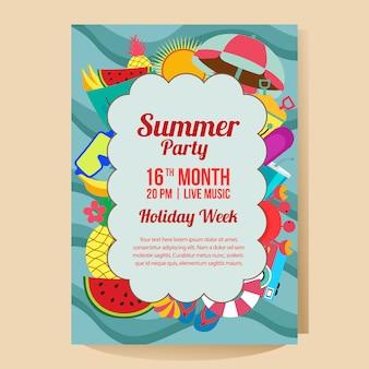 Modelo de cartaz de festa de férias de verão com ilustração em vetor estilo plano tropical frutas tema