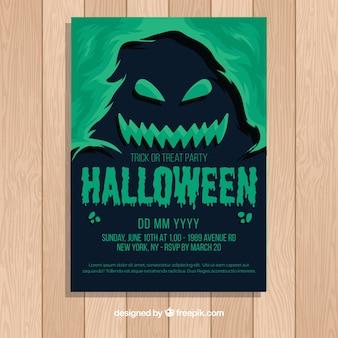 Modelo de cartaz de festa de halloween com design liso