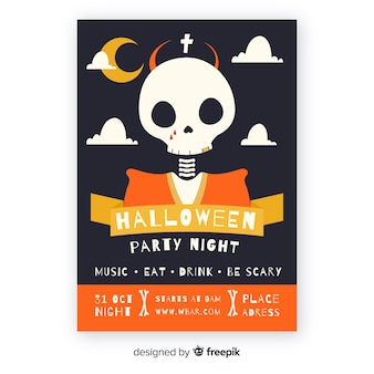 Modelo de cartaz de festa de halloween de design plano