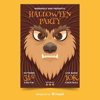 Modelo de cartaz de festa de halloween de rosto de close-up