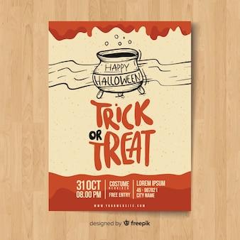 Modelo de cartaz de festa de halloween desenhada mão moderna