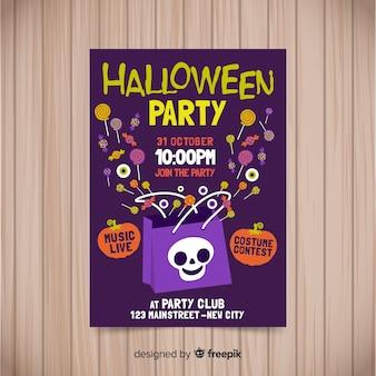 Modelo de cartaz de festa de halloween em design plano