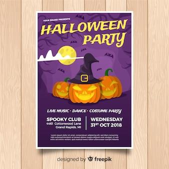 Modelo de cartaz de festa de halloween original com design plano