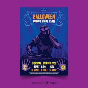 Modelo de cartaz de festa de halloween plana zumbi