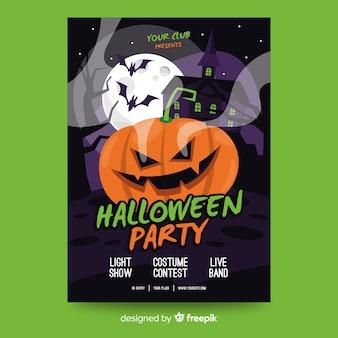 Modelo de cartaz de festa de halloween plana