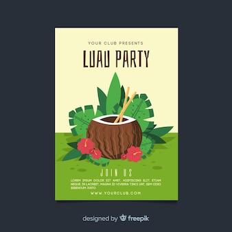 Modelo de cartaz de festa de luau de coco desenhado mão