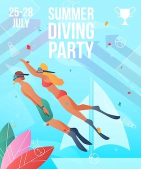 Modelo de cartaz de festa de mergulho de verão. personagens planas de desenhos animados de gradiente