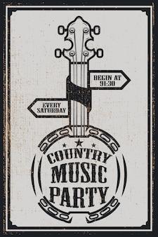 Modelo de cartaz de festa de música country. banjo vintage em fundo grunge. ilustração