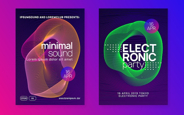 Modelo de cartaz de festa de música de formas onduladas