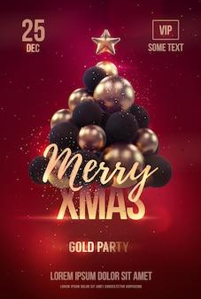 Modelo de cartaz de festa de natal com árvore de natal dourada.