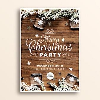 Modelo de cartaz de festa de natal com imagem