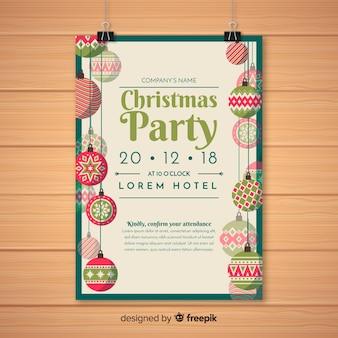 Modelo de cartaz de festa de natal criativa