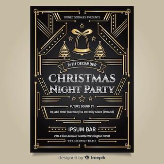 Modelo de cartaz de festa de natal de arte deco