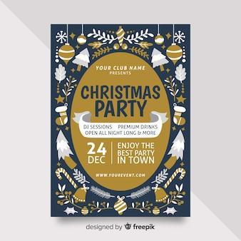 Modelo de cartaz de festa de natal de design plano