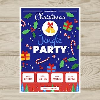 Modelo de cartaz de festa de natal desenhada de mão