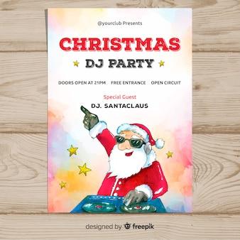 Modelo de cartaz de festa de natal dj papai noel