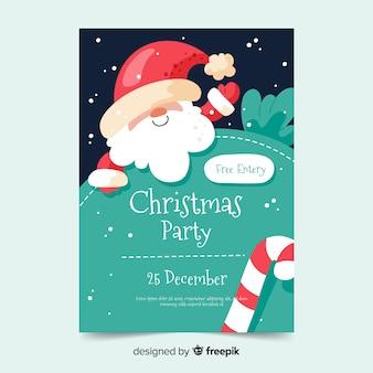 Modelo de cartaz de festa de natal em design plano