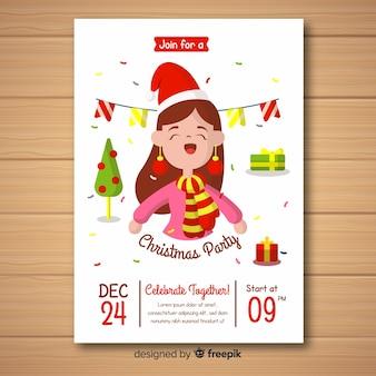 Modelo de cartaz de festa de natal garota feliz