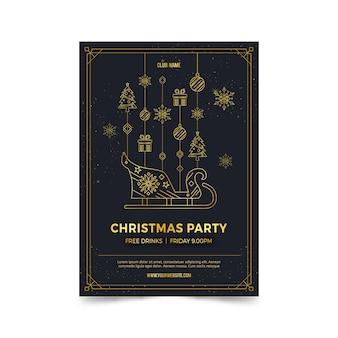 Modelo de cartaz de festa de natal no estilo de estrutura de tópicos