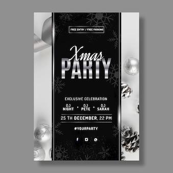 Modelo de cartaz de festa de natal realista