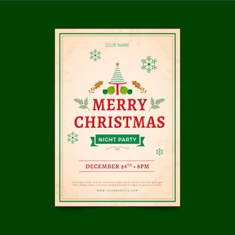 Modelo de cartaz de festa de natal vintage
